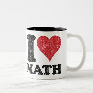 Matemáticas del amor del vintage I Taza De Café De Dos Colores