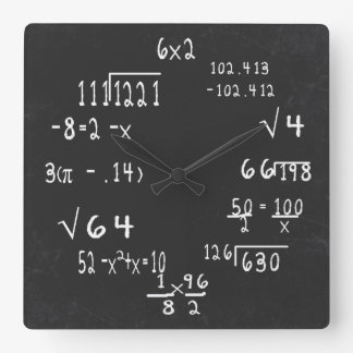 Matemáticas del friki de la diversión reloj cuadrado