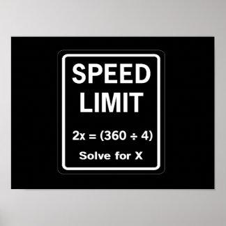 Matemáticas del límite de velocidad póster