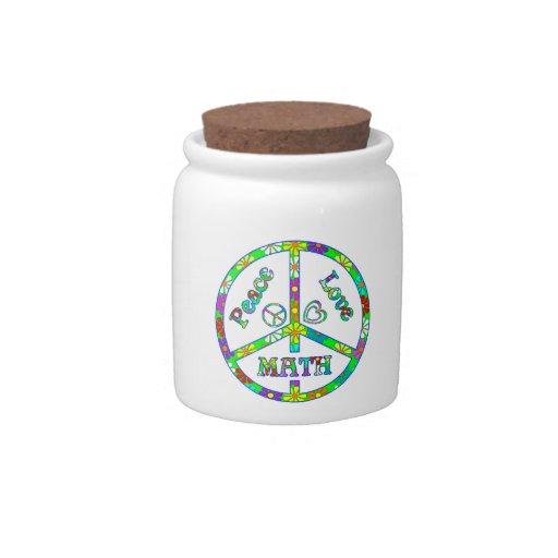 Matemáticas del signo de la paz jarra para caramelo