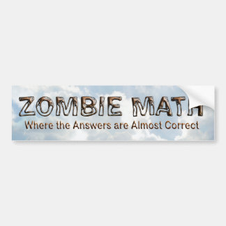 Matemáticas del zombi - básica pegatina de parachoque