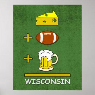 Matemáticas divertida de Wisconsin de la cerveza Póster