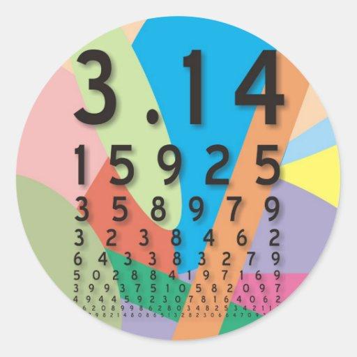 Matemáticas: el constante matemático colorido del pegatinas redondas