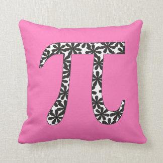 Matemáticas floral del rosa del símbolo del pi cojines