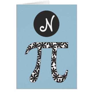 Matemáticas floral del símbolo del pi temática tarjeta pequeña
