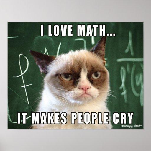 Matemáticas gruñona del amor del cartel I del gato Impresiones