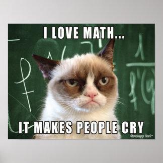 Matemáticas gruñona del amor del cartel I del gato Póster