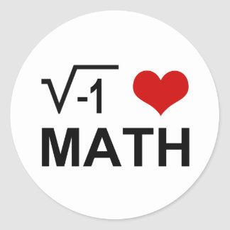 Matemáticas I <3 Pegatina Redonda