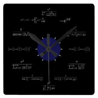 Matemáticas (negro) reloj cuadrado