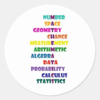 Matemáticas Pegatina Redonda