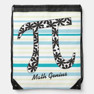 Matemáticas rayada pi floral del personalizar mochila