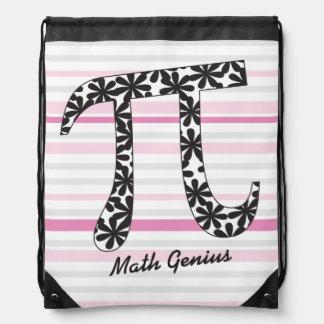 Matemáticas rosada rayada pi floral del mochilas
