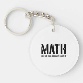 Matemáticas y niños frescos llavero redondo acrílico a una cara