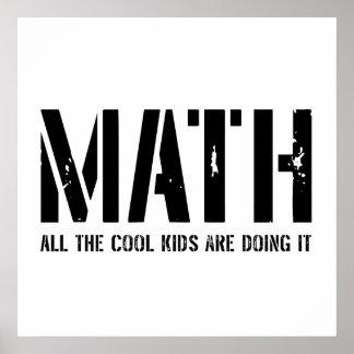 Matemáticas y niños frescos póster