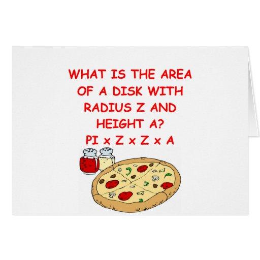 matemáticas y pizza tarjeta de felicitación