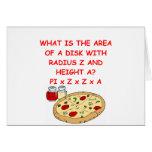 matemáticas y pizza tarjetas