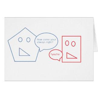 Matemáticas y retruécano inglés tarjeta de felicitación