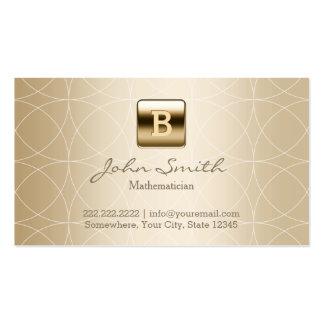 Matemático de lujo del monograma del oro tarjetas de visita