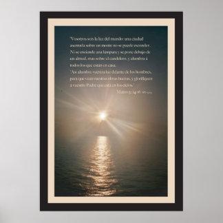Mateo 5: 14-16 con Borde Poster