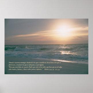 Mateo 5: 44, 45 con Salida del Sol Poster