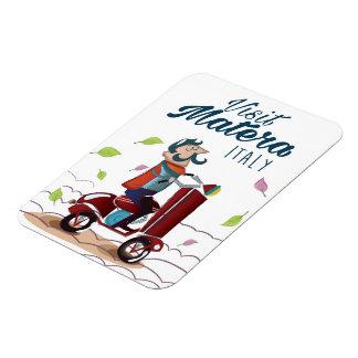 Matera Italy Cartoon Scooter travel print Magnet
