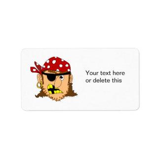 Materia adaptable del pirata del hombre del pirata etiquetas de dirección