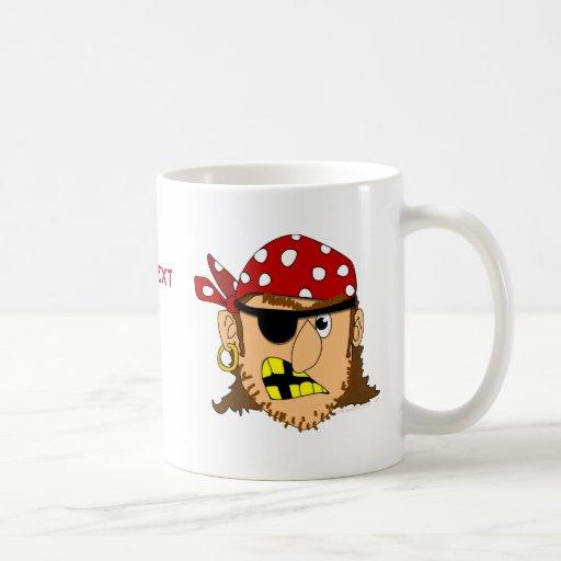 Materia adaptable del pirata del hombre del pirata taza básica blanca