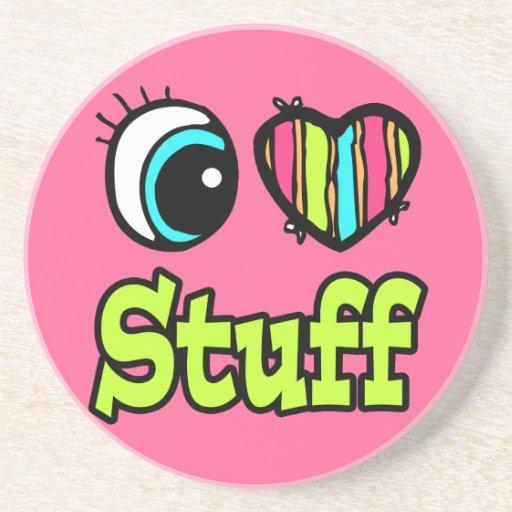 Materia brillante del amor del corazón I del ojo Posavasos Personalizados