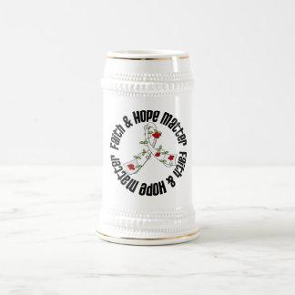 Materia de la fe y de la esperanza - cáncer de pul jarra de cerveza