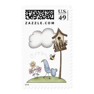 Materia de la primavera · Birdhouse y pájaro Franqueo