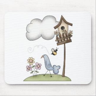 Materia de la primavera · Birdhouse y pájaro Tapetes De Ratones