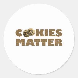 Materia de las galletas pegatina redonda