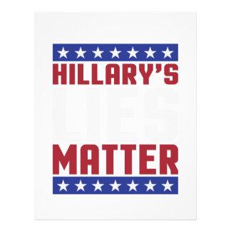 Materia de las mentiras de Hillary Membrete Personalizado