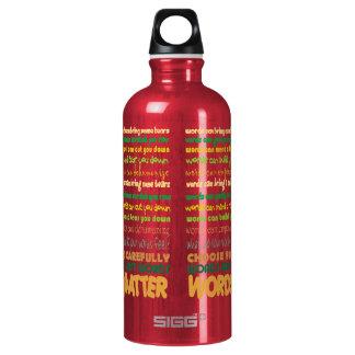 Materia de las palabras botella de agua