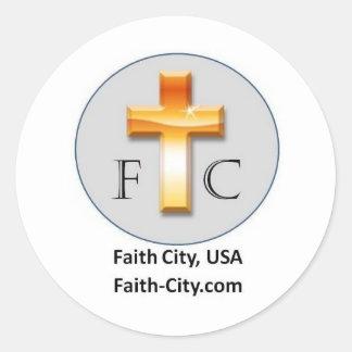 ¡Materia de los E.E.U.U. de la ciudad de la fe! Pegatina Redonda