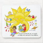 Materia de los niños - cuidado de los profesores d tapetes de ratón
