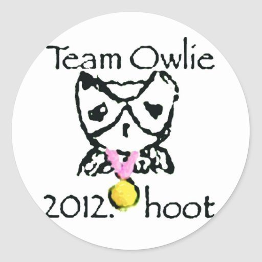 materia del ravvie teamowlie2012 etiqueta redonda