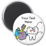 Materia dental para dentista día el 6 de marzo imán redondo 5 cm