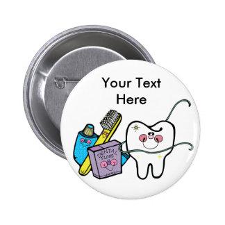 Materia dental para dentista día el 6 de marzo pin redondo de 2 pulgadas