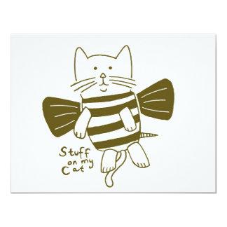 """materia en mi gato - abeja invitación 4.25"""" x 5.5"""""""