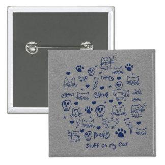 materia en mi gato - doodle pin cuadrado