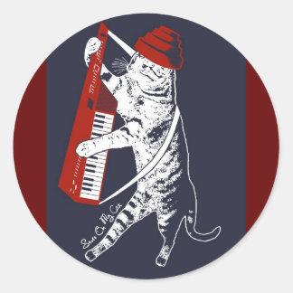 materia en mi gato - keytar pegatina redonda