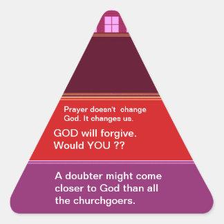 Materia en que pensar: Palabras de la sabiduría Pegatina Triangular