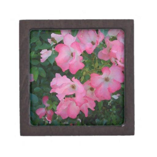 Materia femenina bonita floral subió jardín rosado cajas de joyas de calidad