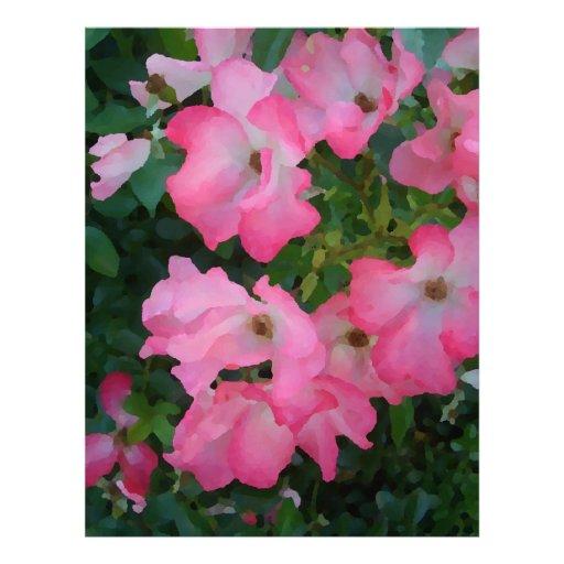 Materia femenina bonita floral subió jardín rosado plantillas de membrete
