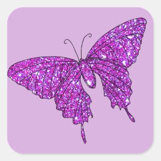 Materia femenina de la lila de la chispa de la pegatina cuadrada