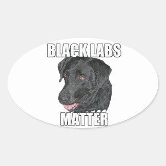 Materia negra dos de los laboratorios pegatina ovalada