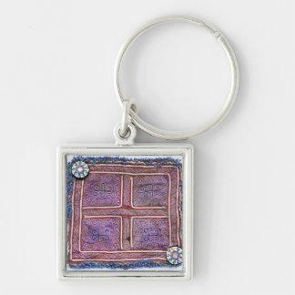 Materia textil afgana del vintage: Púrpura Llaveros