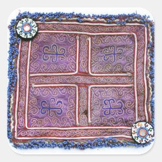 Materia textil afgana del vintage: Púrpura Pegatina Cuadrada