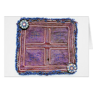 Materia textil afgana del vintage: Púrpura Felicitacion